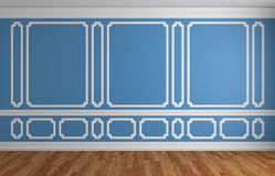 Blue wall in classic style empty room architectural background Royalty Free Stock Image