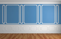 Blue wall in classic style empty room architectural background Stock Photography