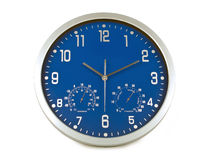 Blue wall clock Royalty Free Stock Image