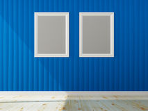 Blue wall color and white frame of interior Royalty Free Stock Image