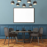 Blue wall dining room, black chairs Stock Image