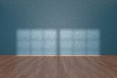 Blue wall of empty room with parquet floor Royalty Free Stock Photos