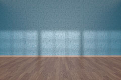 Blue wall of empty room with parquet floor Royalty Free Stock Photography