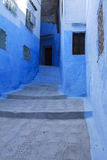 Blue wall and grid of chefchaouen Royalty Free Stock Images