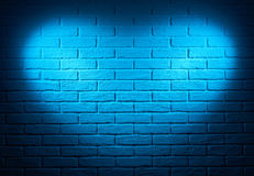 Blue wall with heart shape light effect and shadow, abstract bac Stock Photo