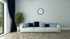 Blue wall living room with watch. Blue wall living room interior design with seat and watch 3d rendering Stock Photos