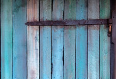 Blue wall made of wood with hinge Royalty Free Stock Image