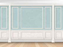 Blue wall with pilasters and white panel. Blue wall interior in classical style with pilasters, moldings and white panel. Architectural background Stock Photography