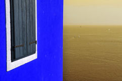 Blue wall and sepia sea Stock Image
