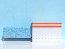 Blue wall white floor group of soft pink/orange white geometric shape abstract scene minimal 3d render stock illustration