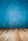 Blue wall. And wooden floor , use for background Royalty Free Stock Photography