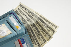 Blue Wallet With Dollars Stock Image