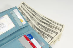 Blue Wallet With Dollars Royalty Free Stock Photos