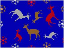 The blue wallpaper of reindeers and snowflakes pattern vector illustration