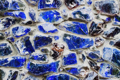 Blue walls from Colored stone and glass mosaic, texture background stock photo