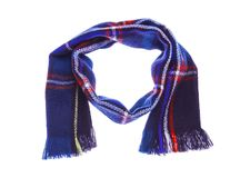 Blue checkered scarf. Blue warm checkered scarf. Isolated on white background Stock Photo