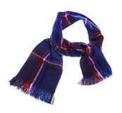 Blue checkered scarf. Blue warm checkered scarf. Isolated on white background Royalty Free Stock Photo