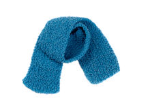 Blue warm knitted scarf Royalty Free Stock Photos