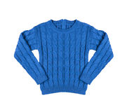Blue warm knitted sweater with a pattern Stock Photos