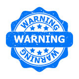 Blue Warning seal or logo or icon Royalty Free Stock Photos