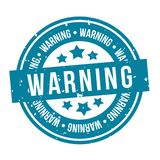 Blue Warning Stamp. Eps10 Vector Badge royalty free illustration