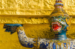 Blue warrior at Emerald Buddha Temple, Thailand Royalty Free Stock Photo