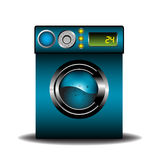 Blue washing machine. Colorful background with an  blue modern washing machine Royalty Free Stock Photo