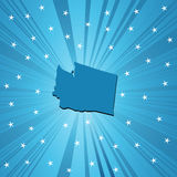 Blue Washington map. Blue  Washingtonmap, abstract background for your design Stock Photos