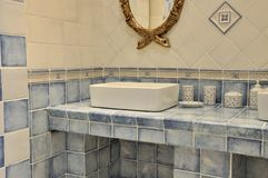 Blue washroom interior Royalty Free Stock Images
