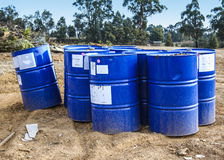 Blue waste drums Stock Images
