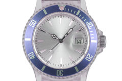 Blue watch. Closeup of a grey and blue watch on white backgorund Royalty Free Stock Photo