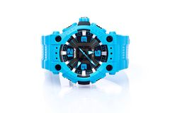 Blue watch isolated. Picture of blue isolated watch on a white background royalty free stock photo
