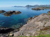 Blue water. Very beautiful bay in Lofoten, Norway Stock Photos