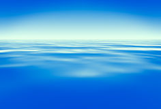 Blue water. Under blue sky. Render Royalty Free Stock Image