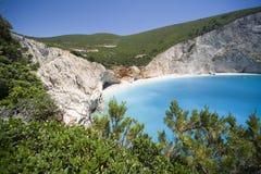 Blue water. Beach of Porto Katsiki,Greece stock image