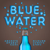 Blue water alphabet and numbers. Vector eps10 illustration vector illustration