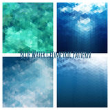 Blue water background geometric set. Stock Photography