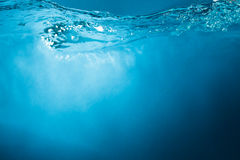 Blue water background stock image