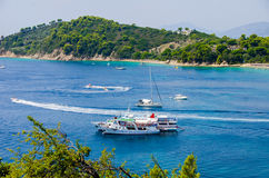 Blue water bay Stock Images