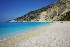 Blue water of beautiful Myrtos beach, Kefalonia Stock Image