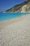 Blue water of beautiful Myrtos beach, Kefalonia Stock Photo