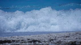 Blue Water and Big White Waves  in Mediterranean Sea royalty free stock images