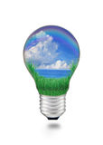 Blue water with blue sky white clouds in light bulb Stock Photography