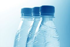 Blue water in bottle Stock Image