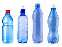Blue water bottle isolated on white background.  stock photography