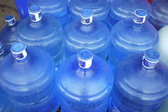 Blue Water Bottles. Waiting to sale Stock Photo