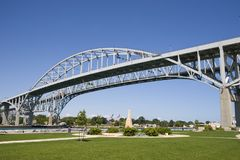 Blue Water Bridge. As seen from Sarnia, Ontario crossing the St. Clair River into Port Huron, Michigan Royalty Free Stock Image