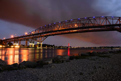Blue Water Bridge at Night, Port Huron, MI Royalty Free Stock Photo
