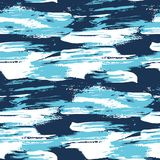 Blue water brush stroke modern seamless pattern. Paint background traced vector illustration vector illustration