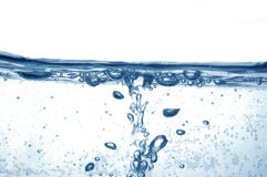 Blue water with bubbles Royalty Free Stock Photos